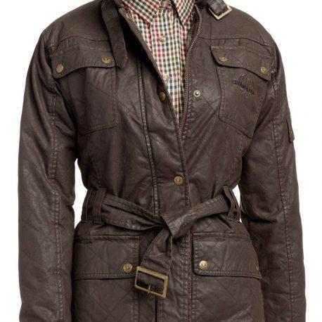 Lekkert jakke med skinnaktig overflate, like flott i byen som på tur